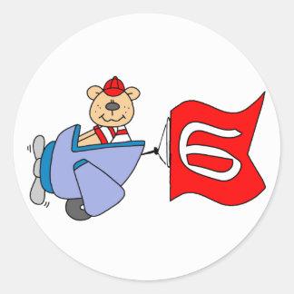 Lil Pilot Bear 6th Birthday Sticker