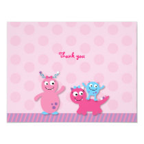 Lil Pink Monster Flat Thank You Note Cards