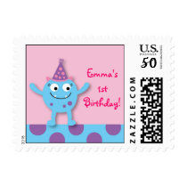 Lil Pink Monster Personalized Postage Stamps