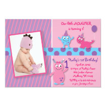 Lil Pink Monster Photo Birthday Invitations