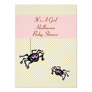 Lil Pink Spider Baby Shower Invitation Cards