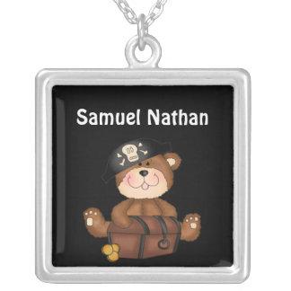 Lil Pirate Bear Boy Birthday Name Necklace