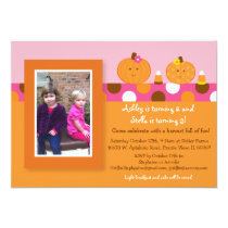 Lil Pumpkin Autumn Fall Birthday Invitations