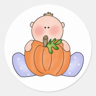 Lil Pumpkin Baby Boy Classic Round Sticker