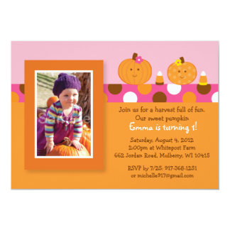Lil Pumpkin Fall Autumn Photo Birthday Invitations