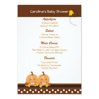 Lil Pumpkins Fall Custom Baby Shower Menu Card