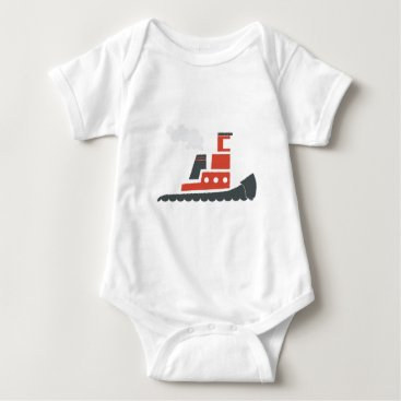 Beach Themed Lil Red Tugboat Baby Bodysuit