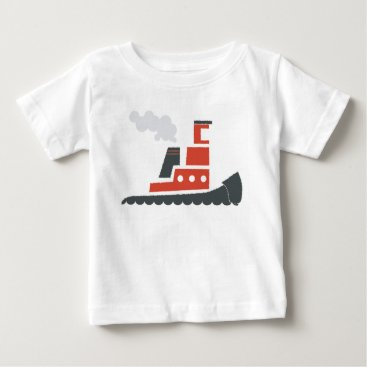 Ocean Themed Lil Red Tugboat Baby Tee