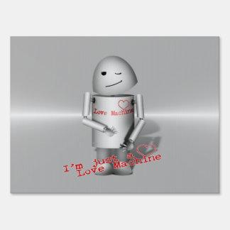 Lil Robo-x9 Love Machine Metal Background Lawn Sign