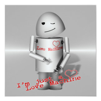 """(Lil Robo-x9) máquina del amor (fondo del metal) Invitación 5.25"""" X 5.25"""""""