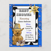 Lil Sheriff Teddy Bear Cowboy Baby Shower Invite