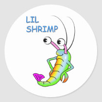 lil shrimp classic round sticker