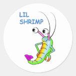 lil shrimp round stickers