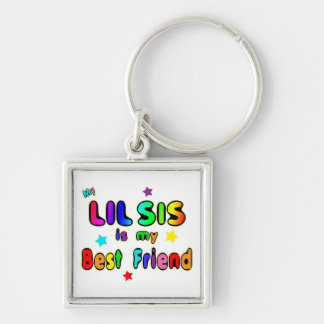 Lil Sis Best Friend Silver-Colored Square Keychain