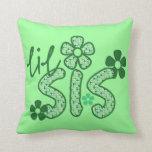 Lil Sis Green Flowers Pillows
