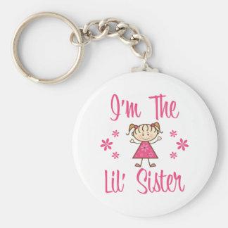 Lil Sis Pink Girls Basic Round Button Keychain