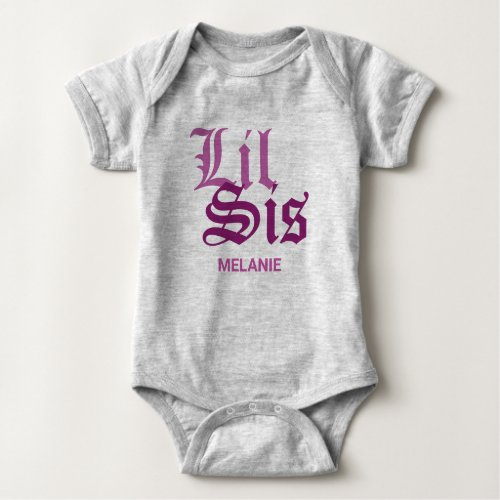 Lil Sis with Name Baby Bodysuit