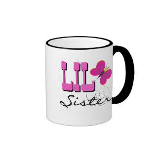 Lil Sister Butterfly Tshirts and Gifts Ringer Coffee Mug