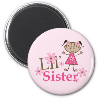 Lil Sister Ethnic Stick Figure Girl 2 Inch Round Magnet