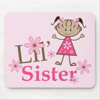 Lil Sister Ethnic Stick Figure Girl Mouse Pad
