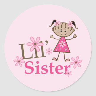 Lil Sister Ethnic Stick Figure Girl Classic Round Sticker
