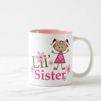 Lil Sister Ethnic Stick Figure Girl Two-Tone Coffee Mug