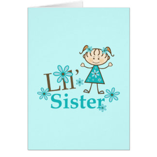 Lil Sister Stick Figure Girl Greeting Cards