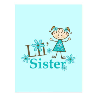 Lil Sister Stick Figure Girl Postcard