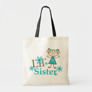 Lil Sister Stick Figure Girl Tote Bag