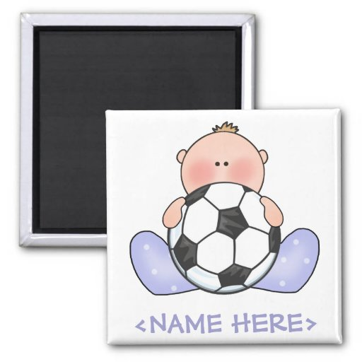 Lil Soccer Baby Boy 2 Inch Square Magnet