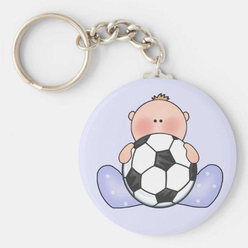Lil Soccer Baby Boy Basic Round Button Keychain