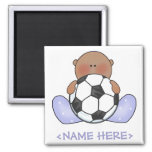 Lil Soccer Baby Boy- Ethnic 2 Inch Square Magnet