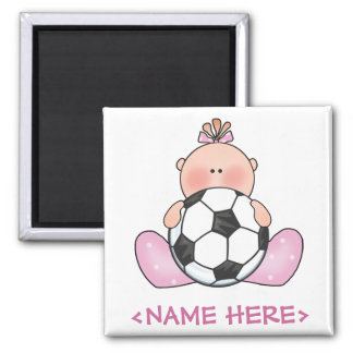 Lil Soccer Baby Girl 2 Inch Square Magnet