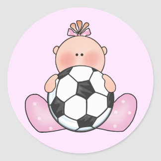 Lil Soccer Baby Girl Classic Round Sticker
