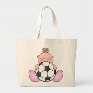 Lil Soccer Baby Girl Large Tote Bag