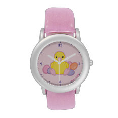 Lil Spring Chick Pattern Wristwatches at Zazzle
