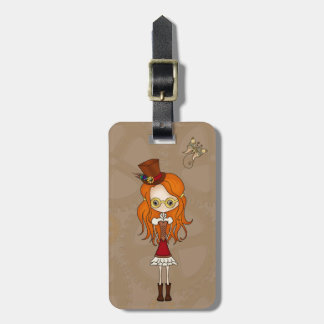 'Lil Steampunk Girl and Mechanical Butterfly Tag Travel Bag Tags