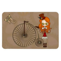 'Lil Steampunk Girl and Penny Farthing Bicycle Magnet