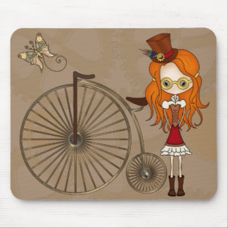 'Lil Steampunk Girl and Penny Farthing Bicycle Mouse Pad