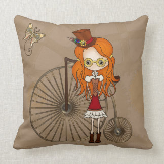 'Lil Steampunk Girl and Penny Farthing Bicycle Pillow