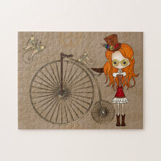 'Lil Steampunk Girl and Penny Farthing Bicycle Puzzle