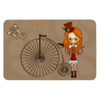'Lil Steampunk Girl and Penny Farthing Bicycle Rectangular Photo Magnet