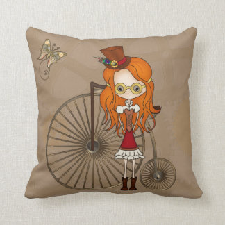 'Lil Steampunk Girl and Penny Farthing Bicycle Throw Pillow