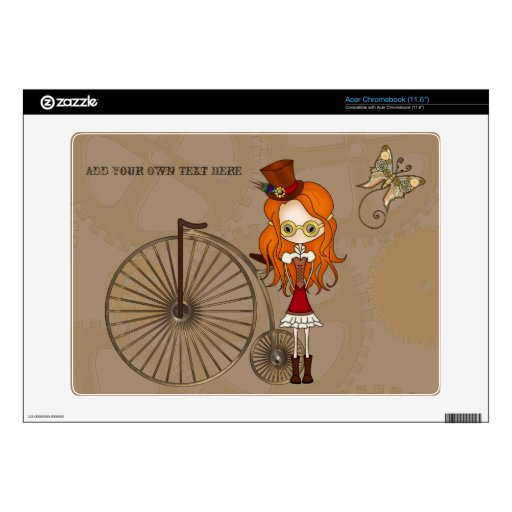 'Lil Steampunk Girl & Penny Farthing Bicycle Skin Acer Chromebook Skin
