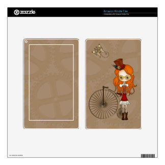 'Lil Steampunk Girl & Penny Farthing Bicycle Skin Kindle Fire Skin