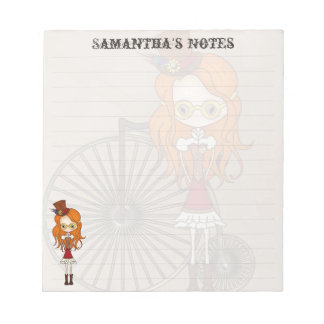 'Lil Steampunk Girl with Penny Farthing Bicycle Memo Pads