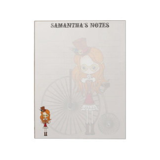'Lil Steampunk Girl with Penny Farthing Bicycle Note Pad