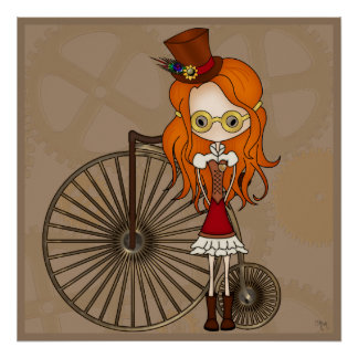 Lil Steampunk Girl with Penny Farthing Bicycle Print