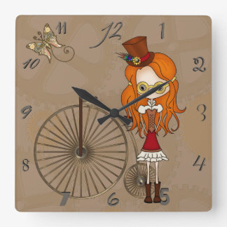 'Lil Steampunk Girl with Penny Farthing Bicycle Square Wall Clock