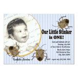 """Lil Stinker 1st Birthday 5"""" X 7"""" Invitation Card"""